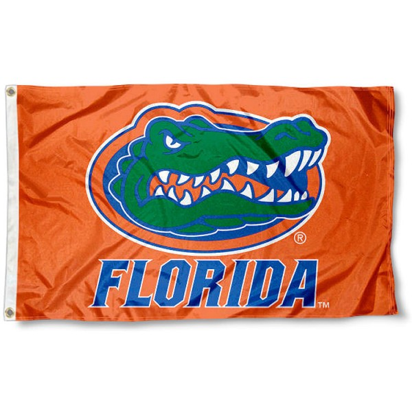 University of Florida Flag - Orange measures 3'x5', is made of 100% poly, has quadruple stitched sewing, two metal grommets, and has double sided University of Florida logos. Our University of Florida Flag - Orange is officially licensed by the selected university and the NCAA