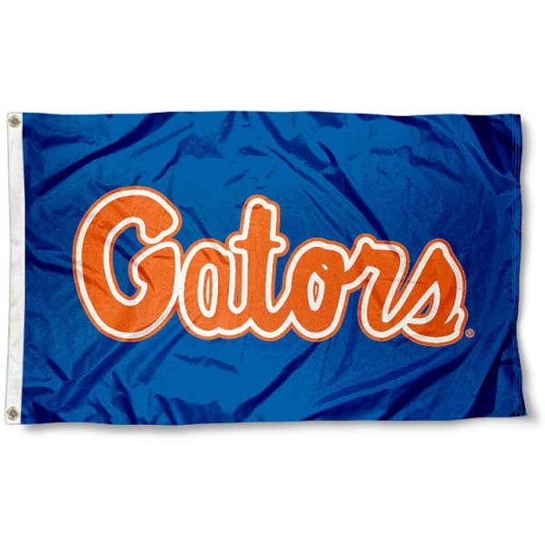 University of Florida Gators Flag measures 3'x5', is made of 100% poly, has quadruple stitched sewing, two metal grommets, and has double sided University of Florida Gators logos. Our University of Florida Gators Flag is officially licensed by the selected university and the NCAA