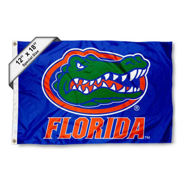 University of Florida Mini Flag is 12x18 inches, polyester, offers quadruple stitched flyends for durability, has two metal grommets, and is double sided. Our mini flags for University of Florida are licensed by the university and NCAA and can be used as a boat flag, motorcycle flag, golf cart flag, or ATV flag