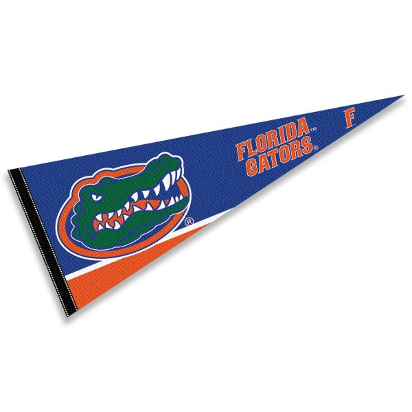 University of Florida Pennant consists of our full size sports pennant which measures 12x30 inches, is constructed of felt, is single sided imprinted, and offers a pennant sleeve for insertion of a pennant stick, if desired. This UF Gators Pennant Decorations is Officially Licensed by the selected university and the NCAA.