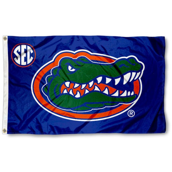 University of Florida SEC Flag measures 3'x5', is made of 100% poly, has quadruple stitched sewing, two metal grommets, and has double sided Team University logos. Our University of Florida SEC Flag is officially licensed by the selected university and the NCAA.