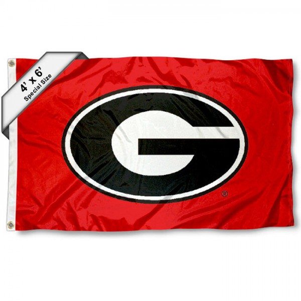 University of Georgia 4x6 Flag measures 4x6 feet, is made thick woven polyester, has quadruple stitched flyends, two metal grommets, and offers screen printed NCAA University of Georgia athletic logos and insignias. Our University of Georgia 4x6 Flag is officially licensed by University of Georgia and the NCAA.