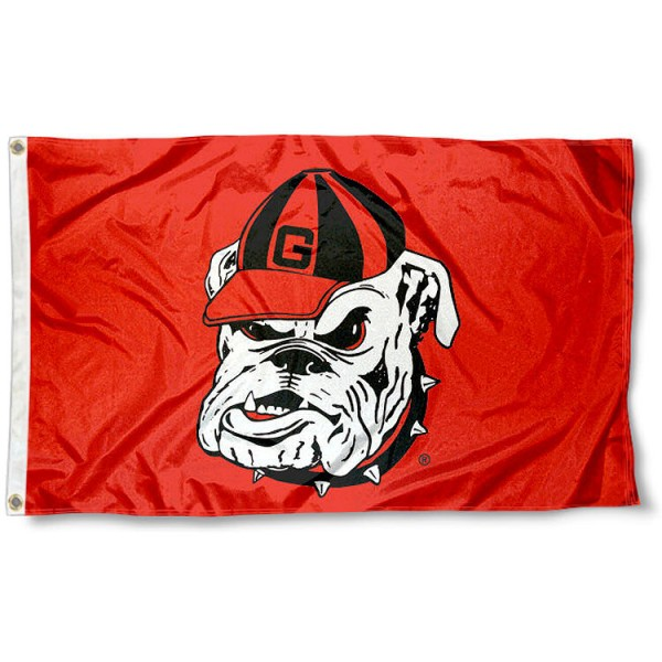 University of Georgia Bulldog Flag measures 3x5 feet, is made of 100% polyester, offers quadruple stitched flyends, has two metal grommets, and offers screen printed NCAA team logos and insignias. Our University of Georgia Bulldog Flag is officially licensed by the selected university and NCAA.