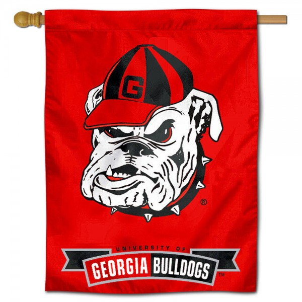 "University of Georgia Bulldogs Decorative Flag is constructed of polyester material, is a vertical house flag, measures 30""x40"", offers screen printed athletic insignias, and has a top pole sleeve to hang vertically. Our University of Georgia Bulldogs Decorative Flag is Officially Licensed by University of Georgia Bulldogs and NCAA."