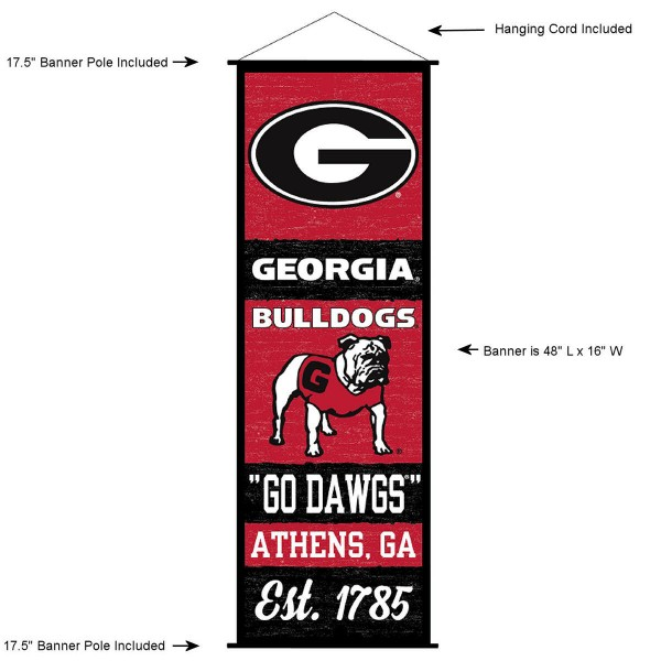 "This ""ready to hang"" University of Georgia Decor and Banner is made of polyester material, measures a large 17.5"" x 48"", offers screen printed athletic logos, and includes both top and bottom 3/4"" diameter plastic banner poles and hanging cord. Our University of Georgia D�cor and Banner is Officially Licensed by the selected college and NCAA."