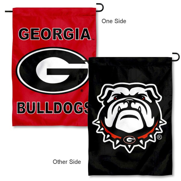 University of Georgia Double Logo Garden Banner Flag is 13x18 inches in size, is made of 2-layer polyester, screen printed University of Georgia athletic logos and lettering. Available with Same Day Express Shipping, Our University of Georgia Double Logo Garden Banner Flag is officially licensed and approved by University of Georgia and the NCAA.