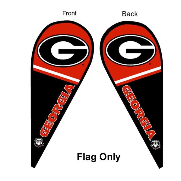 University of Georgia Feather Flag is 9 feet by 3 feet and is a tall 10' when fully assembled. The feather flag is made of thick polyester and is readable and viewable on both sides. The screen printed Georgia Bulldogs double sided logos are NCAA Officially Licensed and is Team and University approved.