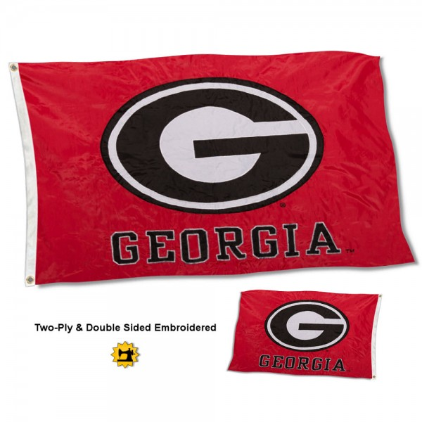University of Georgia Flag measures 3'x5' in size, is made of 2 layer 100% nylon, has quadruple stitched fly ends for durability, and is viewable and readable correctly on both sides. Our University of Georgia Flag is officially licensed by the university, school, and the NCAA