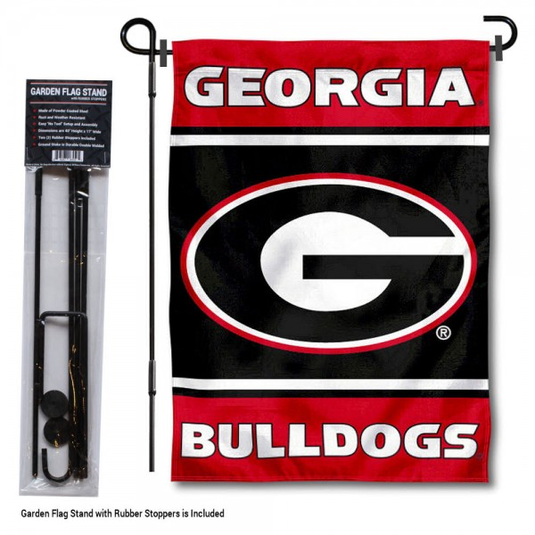 "University of Georgia Garden Flag and Stand kit includes our 13""x18"" garden banner which is made of 2 ply poly with liner and has screen printed licensed logos. Also, a 40""x17"" inch garden flag stand is included so your University of Georgia Garden Flag and Stand is ready to be displayed with no tools needed for setup. Fast Overnight Shipping is offered and the flag is Officially Licensed and Approved by the selected team."