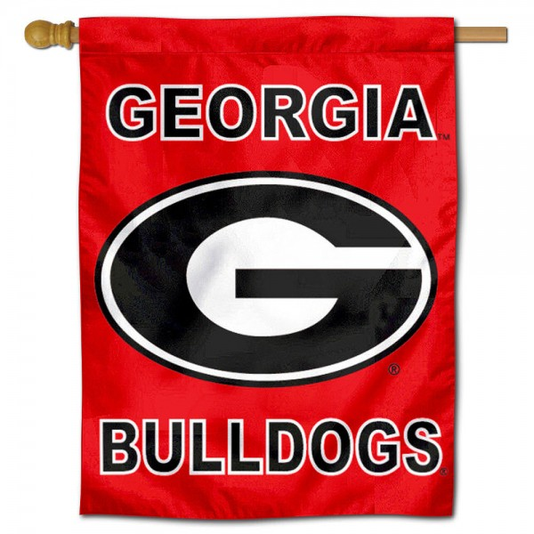 University of Georgia House Flag is a vertical house flag which measures 30x40 inches, is made of 2 ply 100% polyester, offers dye sublimated NCAA team insignias, and has a top pole sleeve to hang vertically. Our University of Georgia House Flag is officially licensed by the selected university and the NCAA