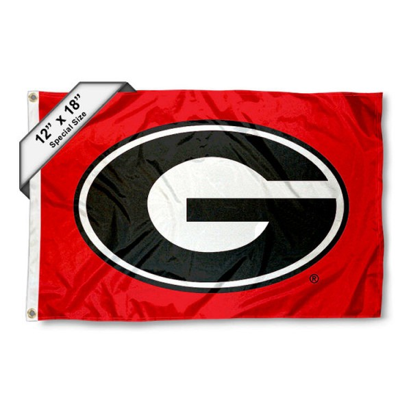 University of Georgia Mini Flag is 12x18 inches, polyester, offers quadruple stitched flyends for durability, has two metal grommets, and is double sided. Our mini flags for University of Georgia are licensed by the university and NCAA and can be used as a boat flag, motorcycle flag, golf cart flag, or ATV flag