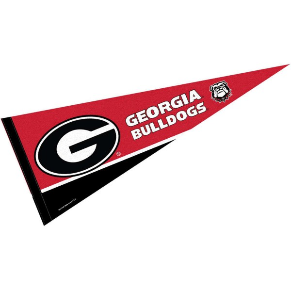 University of Georgia Pennant consists of our full size sports pennant which measures 12x30 inches, is constructed of felt, is single sided imprinted, and offers a pennant sleeve for insertion of a pennant stick, if desired. This UGA Bulldogs Pennant Decorations is Officially Licensed by the selected university and the NCAA.