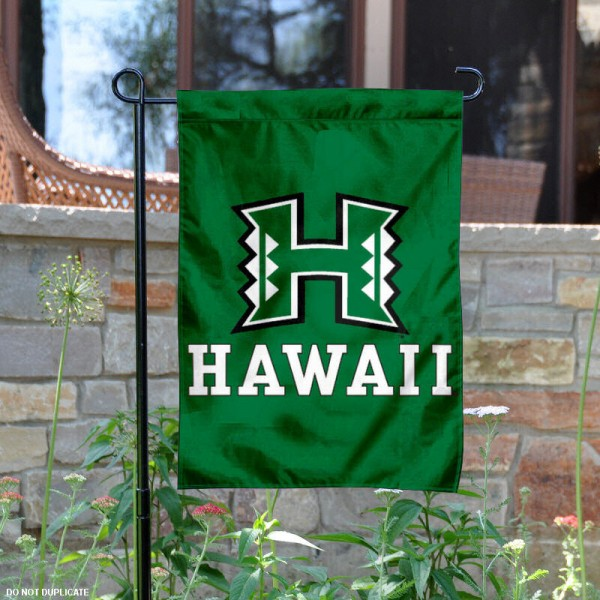 University of Hawaii Garden Flag is 13x18 inches in size, is made of 2-layer polyester, screen printed University of Hawaii athletic logos and lettering. Available with Same Day Express Shipping, Our University of Hawaii Garden Flag is officially licensed and approved by University of Hawaii and the NCAA.