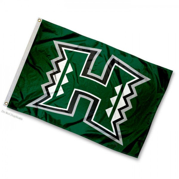 University of Hawaii Mini Flag is 12x18 inches, made of 100% Nylon, offers two-stitched flyends for durability, has two metal grommets, and is Double Sided. Our mini flags for University of Hawaii are licensed by the university and NCAA and can be used as a boat flag, motorcycle flag, golf cart flag, or ATV flag.
