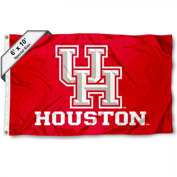 University of Houston 6'x10' Flag measures 6x10 feet, is made of thick poly, has quadruple-stitched fly ends, and UH Cougars logos are screen printed into the UH Cougars 6'x10' Flag. This 6'x10' Flag is officially licensed by and the NCAA.