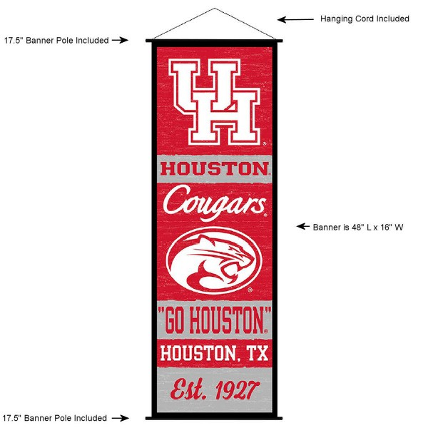 "This ""ready to hang"" University of Houston Decor and Banner is made of polyester material, measures a large 17.5"" x 48"", offers screen printed athletic logos, and includes both top and bottom 3/4"" diameter plastic banner poles and hanging cord. Our University of Houston D�cor and Banner is Officially Licensed by the selected college and NCAA."