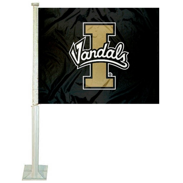 University of Idaho Car Window Flag measures 12x15 inches, is constructed of sturdy 2 ply polyester, and has dye sublimated school logos which are readable and viewable correctly on both sides. University of Idaho Car Window Flag is officially licensed by the NCAA and selected university.