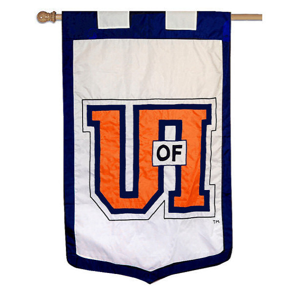University of Illinois Banner Flag measures 35x52 inches, is made of 100% thick nylon, offers embroidered NCAA team insignias, and has a top pole sleeve to hang vertically. Our University of Illinois Banner Flag is officially licensed by the selected university and the NCAA