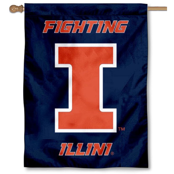 University of Illinois Banner Flag is a vertical house flag which measures 30x40 inches, is made of 2 ply 100% polyester, offers dye sublimated NCAA team insignias, and has a top pole sleeve to hang vertically. Our University of Illinois Banner Flag is officially licensed by the selected university and the NCAA.
