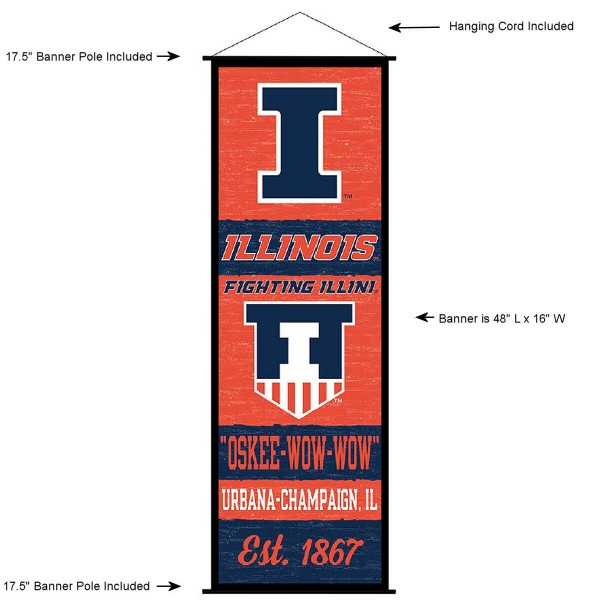 "This ""ready to hang"" University of Illinois Decor and Banner is made of polyester material, measures a large 17.5"" x 48"", offers screen printed athletic logos, and includes both top and bottom 3/4"" diameter plastic banner poles and hanging cord. Our University of Illinois D�cor and Banner is Officially Licensed by the selected college and NCAA."