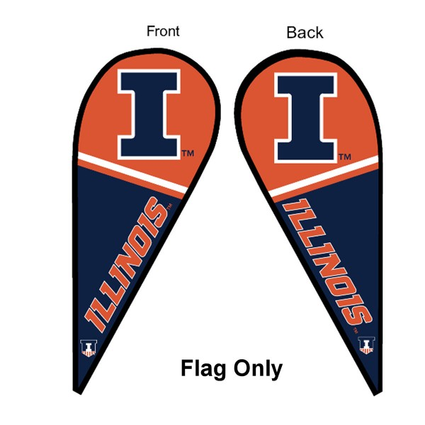 University of Illinois Feather Flag is 9 feet by 3 feet and is a tall 10' when fully assembled. The feather flag is made of thick polyester and is readable and viewable on both sides. The screen printed Illinois Fighting Illini double sided logos are NCAA Officially Licensed and is Team and University approved.