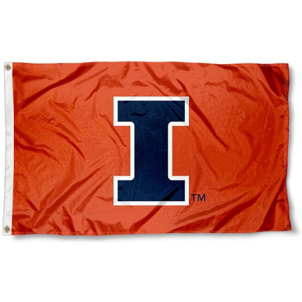University of Illinois New Logo Flag measures 3'x5', is made of 100% poly, has quadruple stitched sewing, two metal grommets, and has double sided U of I Illini logos. Our University of Illinois New Logo Flag is officially licensed by the selected university and the NCAA.