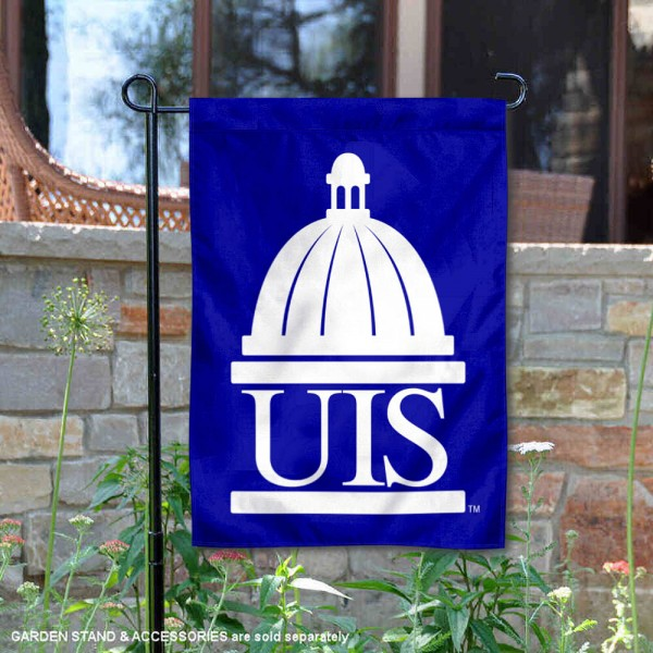 University of Illinois Springfield Academic Logo Garden Flag is 13x18 inches in size, is made of 2-layer polyester, screen printed university athletic logos and lettering, and is readable and viewable correctly on both sides. Available same day shipping, our University of Illinois Springfield Academic Logo Garden Flag is officially licensed and approved by the university and the NCAA.