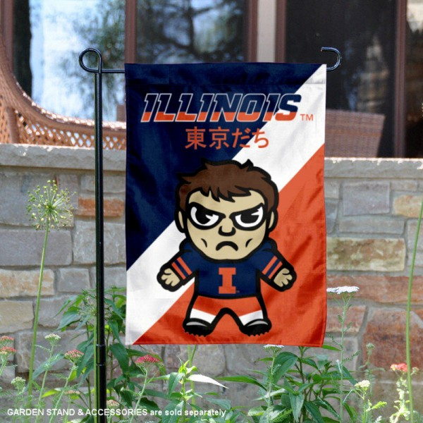 University of Illinois Tokyodachi Mascot Yard Flag is 13x18 inches in size, is made of double layer polyester, screen printed university athletic logos and lettering, and is readable and viewable correctly on both sides. Available same day shipping, our University of Illinois Tokyodachi Mascot Yard Flag is officially licensed and approved by the university and the NCAA.