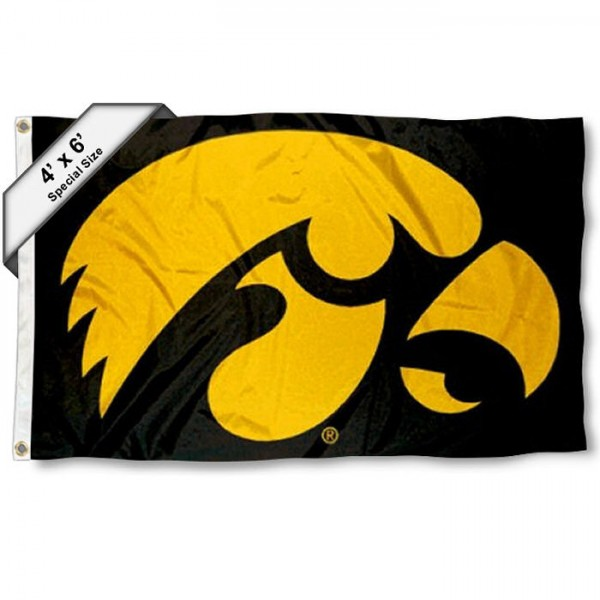 University of Iowa 4x6 Flag measures 4x6 feet, is made thick woven polyester, has quadruple stitched flyends, two metal grommets, and offers screen printed NCAA University of Iowa athletic logos and insignias. Our University of Iowa 4x6 Flag is officially licensed by University of Iowa and the NCAA.