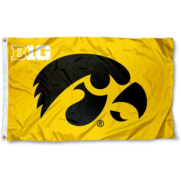 University of Iowa Big 10 Flag measures 3'x5', is made of 100% poly, has quadruple stitched sewing, two metal grommets, and has double sided Team University logos. Our University of Iowa Big 10 Flag is officially licensed by the selected university and the NCAA.