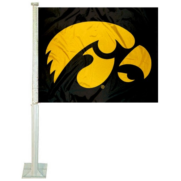 University of Iowa Car Window Flag measures 12x15 inches, is constructed of sturdy 2 ply polyester, and has screen printed school logos which are readable and viewable correctly on both sides. University of Iowa Car Window Flag is officially licensed by the NCAA and selected university.