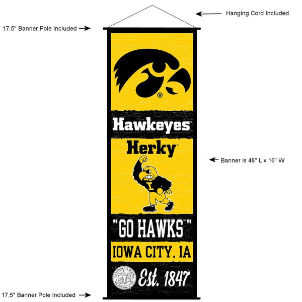 """This """"ready to hang"""" University of Iowa Decor and Banner is made of polyester material, measures a large 17.5"""" x 48"""", offers screen printed athletic logos, and includes both top and bottom 3/4"""" diameter plastic banner poles and hanging cord. Our University of Iowa D�cor and Banner is Officially Licensed by the selected college and NCAA."""