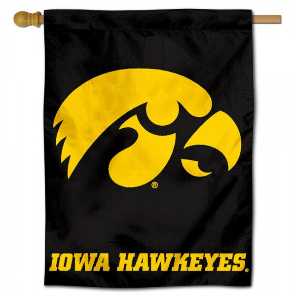 """University of Iowa Decorative Flag is constructed of polyester material, is a vertical house flag, measures 30""""x40"""", offers screen printed athletic insignias, and has a top pole sleeve to hang vertically. Our University of Iowa Decorative Flag is Officially Licensed by University of Iowa and NCAA."""