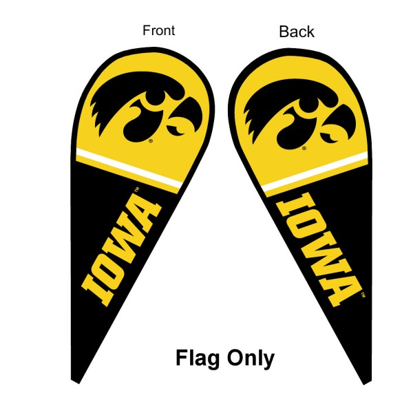 University of Iowa Feather Flag is 9 feet by 3 feet and is a tall 10' when fully assembled. The feather flag is made of thick polyester and is readable and viewable on both sides. The screen printed Iowa Hawkeyes double sided logos are NCAA Officially Licensed and is Team and University approved.
