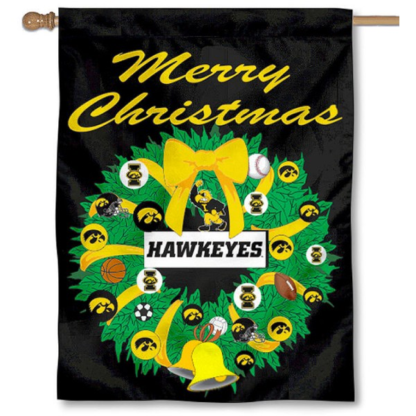 University of Iowa Holiday Flag is a decorative house flag, 30x40 inches, made of 100% polyester, Holiday NCAA team insignias, and has a top pole sleeve to hang vertically. Our University of Iowa Holiday Flag is officially licensed by the selected university and the NCAA.