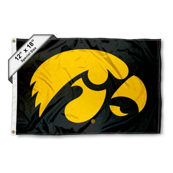 University of Iowa Mini Flag is 12x18 inches, polyester, offers quadruple stitched flyends for durability, has two metal grommets, and is double sided. Our mini flags for University of Iowa are licensed by the university and NCAA and can be used as a boat flag, motorcycle flag, golf cart flag, or ATV flag