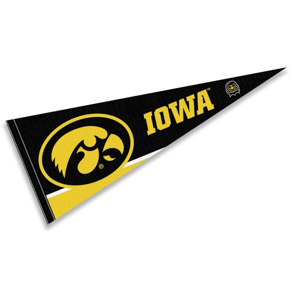 University of Iowa Pennant consists of our full size sports pennant which measures 12x30 inches, is constructed of felt, is single sided imprinted, and offers a pennant sleeve for insertion of a pennant stick, if desired. This Iowa Hawkeye Pennant Decorations is Officially Licensed by the selected university and the NCAA.