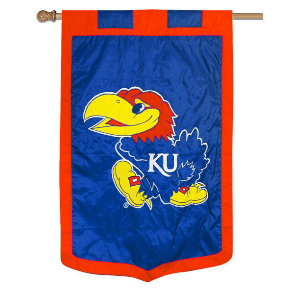University of Kansas Banner Flag measures 35x52 inches, is made of 100% thick nylon, offers embroidered NCAA team insignias, and has a top pole sleeve to hang vertically. Our University of Kansas Banner Flag is officially licensed by the selected university and the NCAA