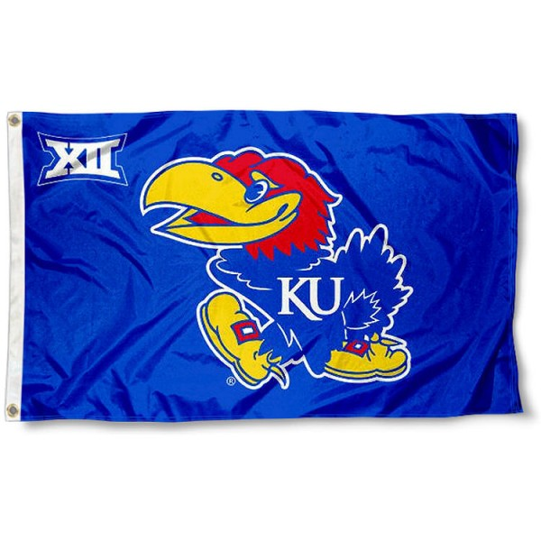 University of Kansas Big 12 Flag measures 3'x5', is made of 100% poly, has quadruple stitched sewing, two metal grommets, and has double sided Team University logos. Our University of Kansas Big 12 Flag is officially licensed by the selected university and the NCAA.