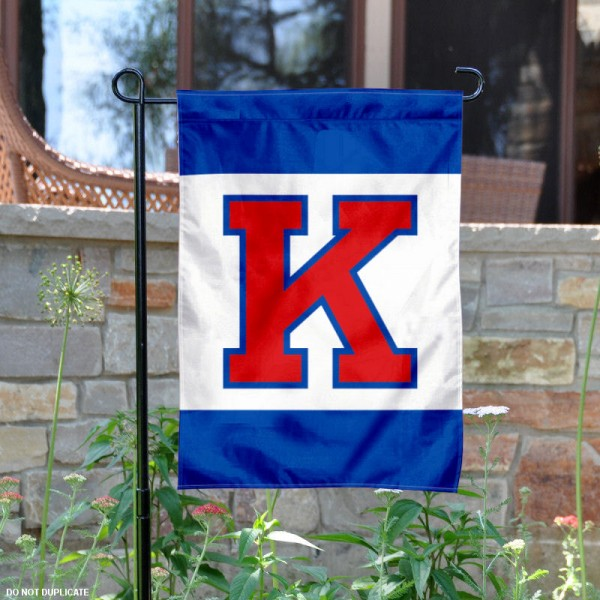 University of Kansas Big K Garden Flag is 13x18 inches in size, is made of 2-layer polyester, screen printed University of Kansas Big K athletic logos and lettering. Available with Same Day Express Shipping, Our University of Kansas Big K Garden Flag is officially licensed and approved by University of Kansas Big K and the NCAA.