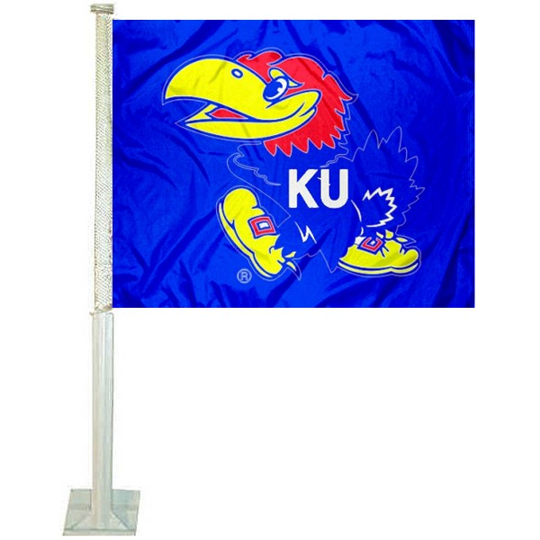 University of Kansas Car Window Flag measures 12x15 inches, is constructed of sturdy 2 ply polyester, and has screen printed school logos which are readable and viewable correctly on both sides. University of Kansas Car Window Flag is officially licensed by the NCAA and selected university.