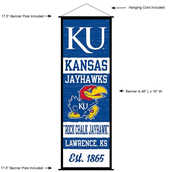 """This """"ready to hang"""" University of Kansas Decor and Banner is made of polyester material, measures a large 17.5"""" x 48"""", offers screen printed athletic logos, and includes both top and bottom 3/4"""" diameter plastic banner poles and hanging cord. Our University of Kansas D�cor and Banner is Officially Licensed by the selected college and NCAA."""