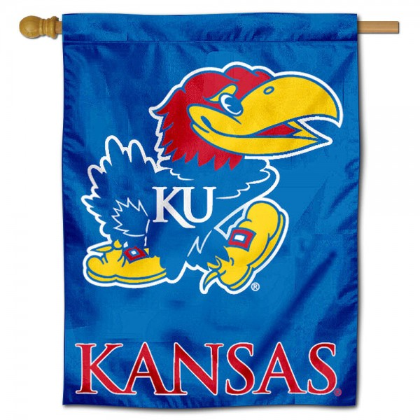 "University of Kansas Decorative Flag is constructed of polyester material, is a vertical house flag, measures 30""x40"", offers screen printed athletic insignias, and has a top pole sleeve to hang vertically. Our University of Kansas Decorative Flag is Officially Licensed by University of Kansas and NCAA."