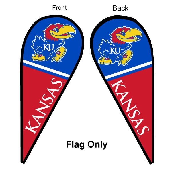 University of Kansas Feather Flag is 9 feet by 3 feet and is a tall 10' when fully assembled. The feather flag is made of thick polyester and is readable and viewable on both sides. The screen printed Kansas Jayhawks double sided logos are NCAA Officially Licensed and is Team and University approved.