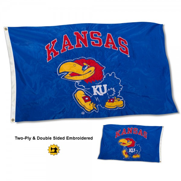 University of Kansas Flag measures 3'x5' in size, is made of 2 layer embroidered 100% nylon, has quadruple stitched fly ends for durability, and is viewable and readable correctly on both sides. Our University of Kansas Flag is officially licensed by the university, school, and the NCAA