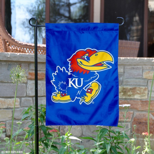 University of Kansas Garden Flag is made of 100% polyester, measures 13x18 inches, and has screen printed NCAA School insignias and lettering. The University of Kansas Garden Flag is approved by University of Kansas and NCAA and university garden flags are great for your entranceway, garden, yard, mailbox, or window.