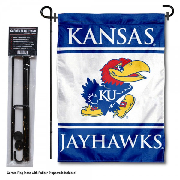 "University of Kansas Garden Flag and Stand kit includes our 13""x18"" garden banner which is made of 2 ply poly with liner and has screen printed licensed logos. Also, a 40""x17"" inch garden flag stand is included so your University of Kansas Garden Flag and Stand is ready to be displayed with no tools needed for setup. Fast Overnight Shipping is offered and the flag is Officially Licensed and Approved by the selected team."