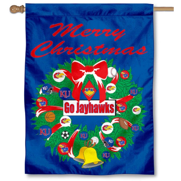 University of Kansas Holiday Flag is a decorative house flag, 30x40 inches, made of 100% polyester, Holiday NCAA team insignias, and has a top pole sleeve to hang vertically. Our University of Kansas Holiday Flag is officially licensed by the selected university and the NCAA.