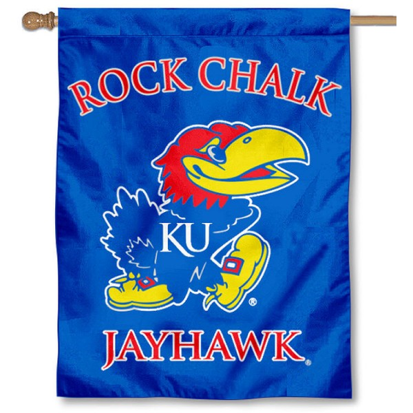 University of Kansas House Flag is a vertical house flag which measures 30x40 inches, is made of 2 ply 100% polyester, offers dye sublimated NCAA team insignias, and has a top pole sleeve to hang vertically. Our University of Kansas House Flag is officially licensed by the selected university and the NCAA