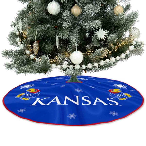 University of Kansas Jayhawks Christmas Tree Skirt measures 56 inches circle, is made of 150d polyester, has a contrasting color border. Each college xmas tree skirt includes Officially Licensed Logos and Insignias.